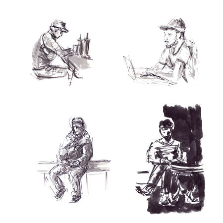 Quick sketches of black ink in a graphic style, behind a netbook and at the table
