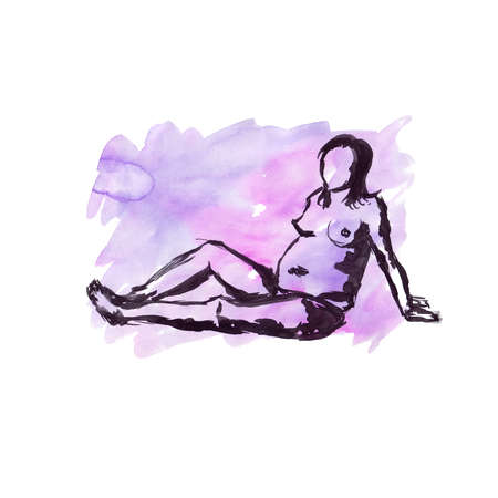 Quick sketch on a watercolor background with black ink - nude pregnant female figure Banque d'images - 100297325