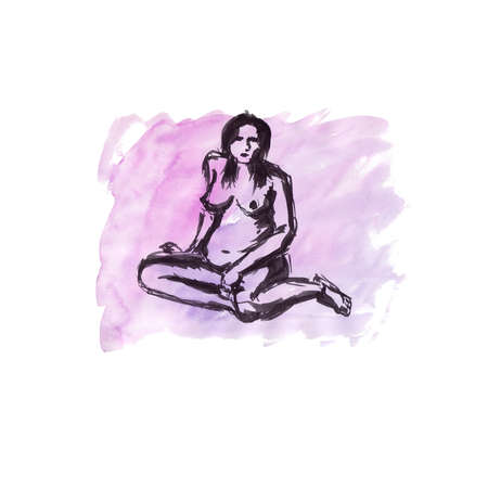 Quick sketch on a watercolor background with black ink - nude pregnant female figure Banque d'images - 100297796