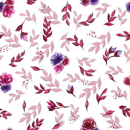 Seamless pattern Light watercolor flowers red pink purple