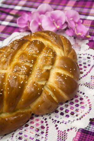Bread is sweet, sweet, aromatic, unusual in shape Hallah is a Jewish traditional festive