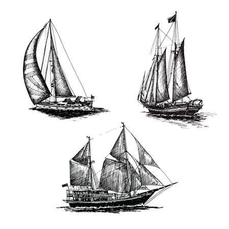 Set Ship sailing yacht boat antique vintage black ink hand drawing