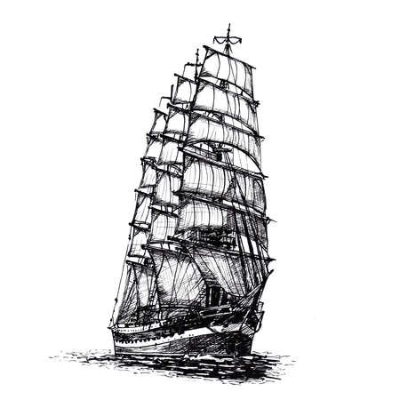 Ship sailing yacht boat antique vintage black ink hand drawing