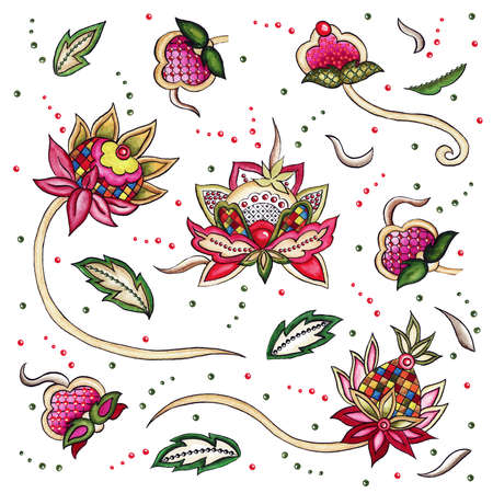 Moonlight magic flower set embroidery textile yellow buds curls leaves dots