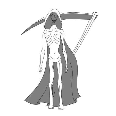 Abstract image of death with a scythe. A very thin death in a black mourning mantle. Frail vector Ilustrace