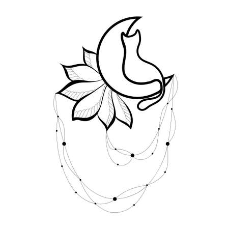 White cat sways on the moon flowers patterns. Swing, mehendi, tattoo. Handmade vector illustration. Hand-draw.