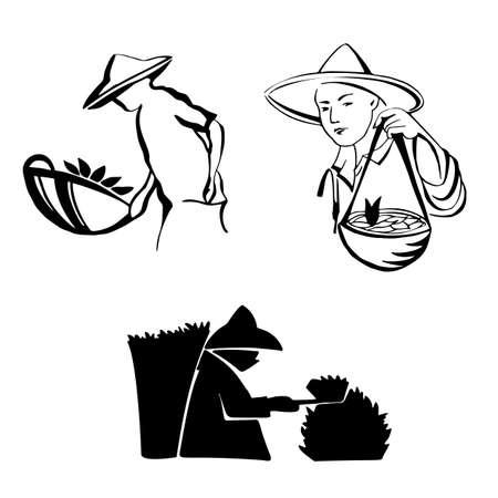 A happy tea-picking boy working on the tea garden. Set vector illustration hand draiving line Ilustração