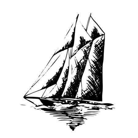 Sailing yachts schooner ships in graphic style made with black ink - Hand drawing vector illustration Stockfoto - 134391409