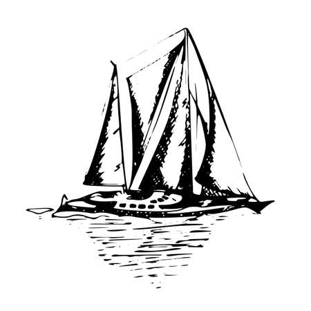 Sailing yachts schooner ships in graphic style made with black ink - Hand drawing vector illustration Stockfoto - 134391431