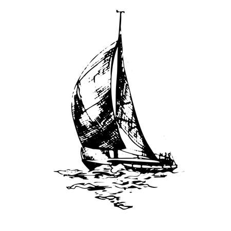 Sailing yachts schooner ships in graphic style made with black ink - Hand drawing vector illustration