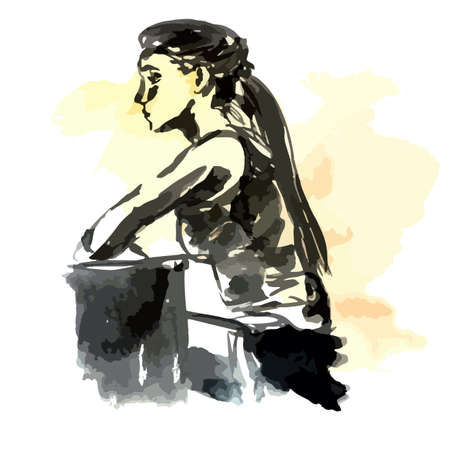 Girl in profile in front of the monitor, Watercolor sketch with black ink - Hand drawing vector illustration