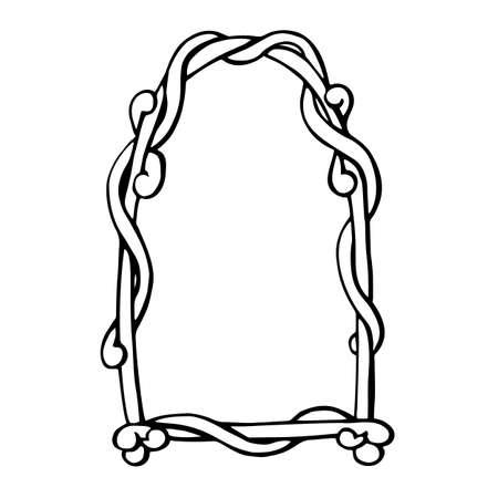 Ribbon frame exquisitely swirled vintage baroque retro - free hand vector illustration