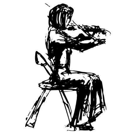 A figure in profile of a violinist on a chair in a skirt plays a piece of music - a quick black and white freehand sketch vector illustration Illustration