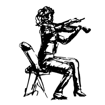 A figure in profile of a violinist on a chair in jeans playing a piece of music - a quick black and white freehand sketch vector illustration