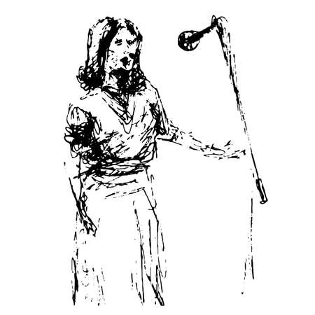 The figure of an opera singer in front of a microphone performs a piece of music to the accompaniment of a symphony orchestra - a quick black and white freehand sketch vector illustration Ilustração