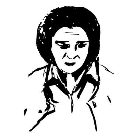 Serious frowning strict woman - quick black and white freehand sketch vector illustration