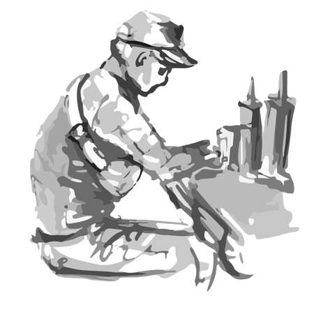 Pensive man without a beard in a cap eats a hamburger in a cafe - quick black and white freehand sketch vector illustration Illustration