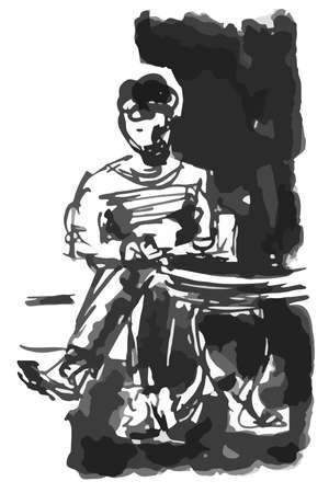 Man with a beard businessman at a laptop in a cap at a table in a cafe - quick black and white sketch by hand vector illustration Illustration