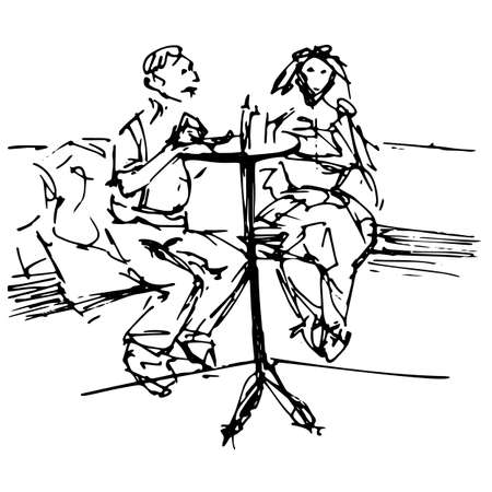 Loving couple at a table in a cafe - quick black and white freehand sketch vector illustration
