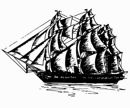 Nave yacht a vela barca antica vintage antico inchiostro nero disegno a mano illustrazione vettoriale Vettoriali