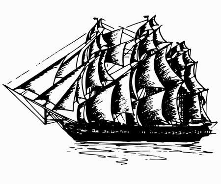 Schiff Segelyacht Boot antike Vintage antike schwarze Tinte Handzeichnung Vektor-Illustration Vektorgrafik