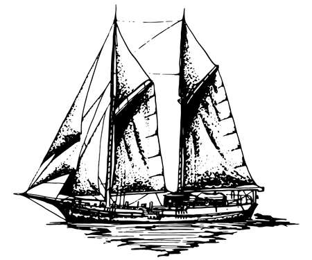 Ship sailing yacht boat antique vintage antique black ink hand drawing vector illustration