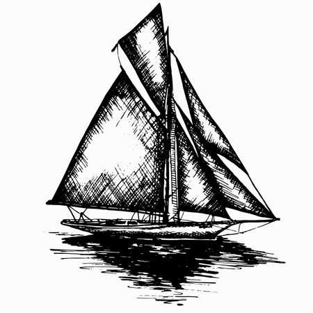 Navire voilier bateau antique vintage antique encre noire main dessin illustration vectorielle Vecteurs
