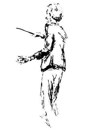 Symphony orchestra conductor silhouette linear sketch emotion passion music movement - black ink hand drawing vector illustration
