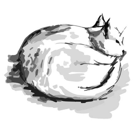 White happy cat in black and white graphic quick sketch with markers hand draw vector illustration Ilustrace