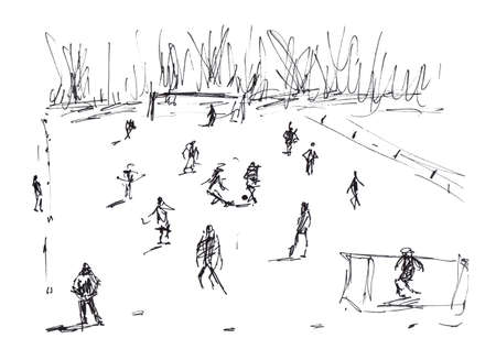 Football on grass people figures play an amateur match - sketch hand-drawn illustration with marker liner Banco de Imagens
