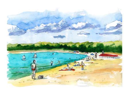 Beach landscape summer hot people figures blue sky cumulus clouds bright sea - watercolor hand-drawn illustration