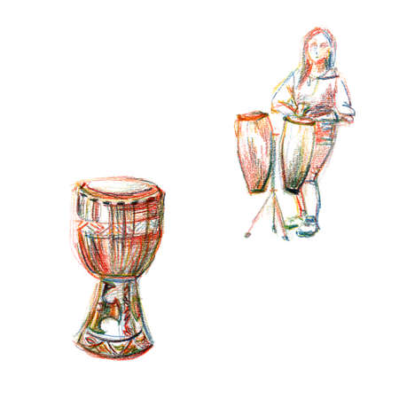Drums different percussion instruments musicians play conga Bongos jembe tabla - freehand drawn illustration colored pencils Standard-Bild - 134866264