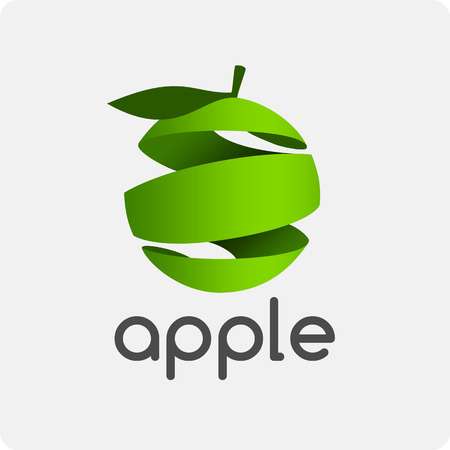 health food store: Vector pattern apple logo. Illustration of a stylized apple in the shape of a spiral.