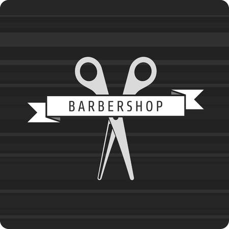 groomed: Vector pattern hairdresser logo. hairstyles logo. Scissors Rewind the tape with the inscription barbershop.