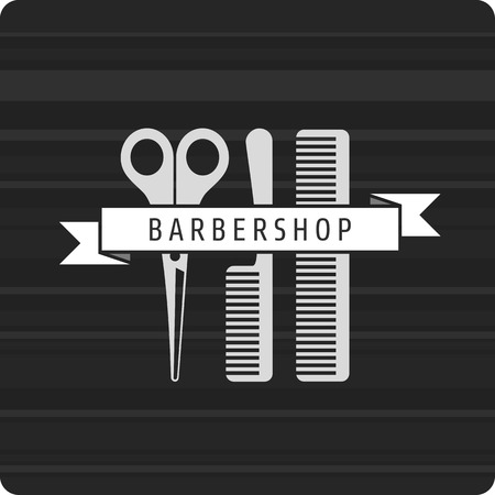 barbershop: Vector pattern hairdresser logo. hairstyles logo. Scissors and two combs Rewind the tape with the inscription barbershop. Illustration