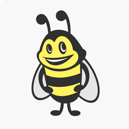 Vector illustrations bee character with a smile. Ilustração