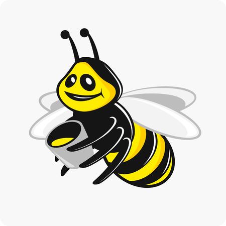 carries: Vector illustrations character bee carries honey bucket.
