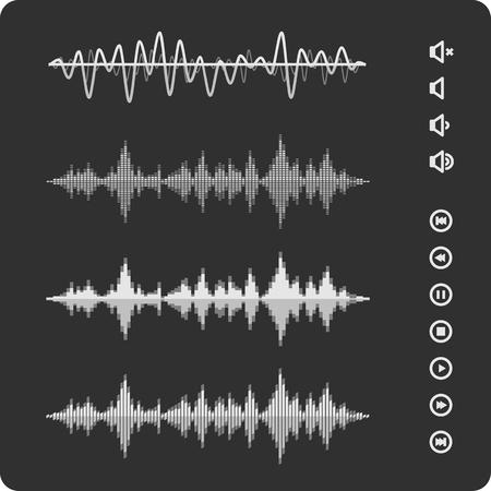 イコライザー ベクトル サウンド波形。音楽パルス アイコンやボタン。  イラスト・ベクター素材