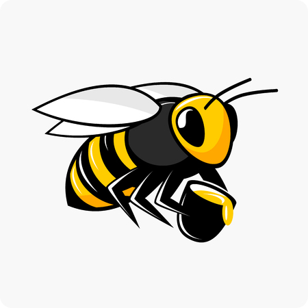 Vector illustration of a flying bee holds a bucket with honey. Stock Illustratie