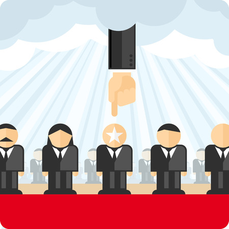 select: Choosing person for hiring. Job and staff, human and recruitment, select people. Vector illustration.