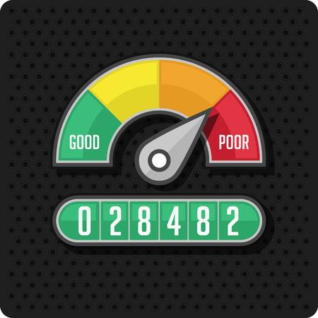 vacuuming: Indicators and gauges. Manometer pressure gauge icons. Vector illustration on perforation background. Illustration