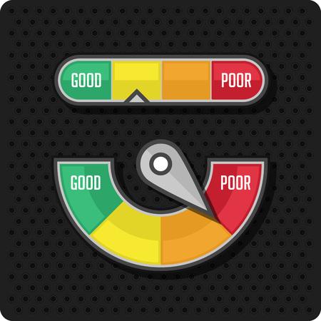 Indicadores y medidores. Manómetro iconos manómetro. Ilustración del vector en el fondo de perforación. Ilustración de vector