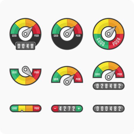 Colocar el medidor de puntuación de crédito. Indicadores y medidores. iconos manómetro. Ilustración del vector. Ilustración de vector