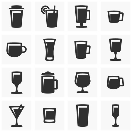 A set of vector images of glasses of alcohol, cocktails, beer and other beverages.