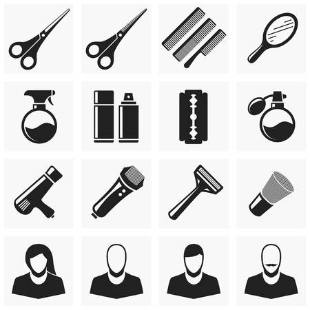 hair cutting: Set of vector icons hairdresser. Accessories for hair cutting and shaving.