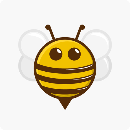 Vector illustration of a bee character on a white background.