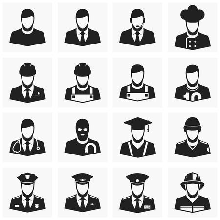 Vector sagome di persone di diversa professione - un ingegnere, vigile del fuoco, poliziotto e altri. Icone professioni.