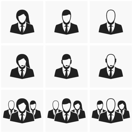 business suit: Vector silhouettes of office workers. Telephone operators with headphones and microphone.