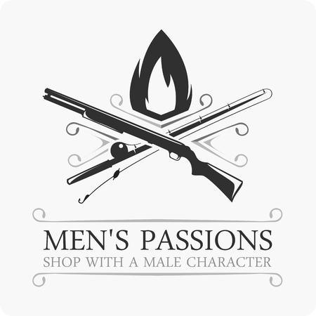 seal gun: Vector emblem hunting and fishing. logo template.