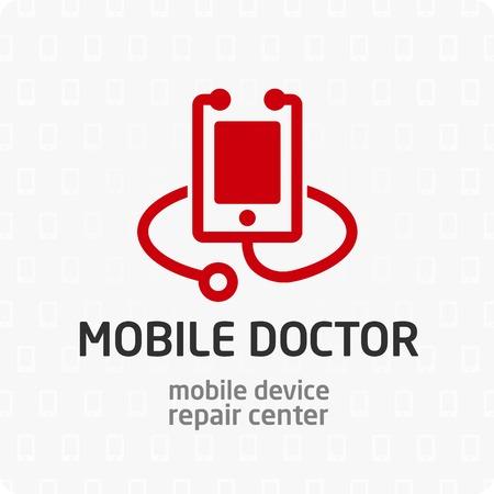Inteligentne urządzenie do naprawy telefonu symbol, logo, ikony, szablon znak dla swojej usługi. Komórka lekarza. Logo